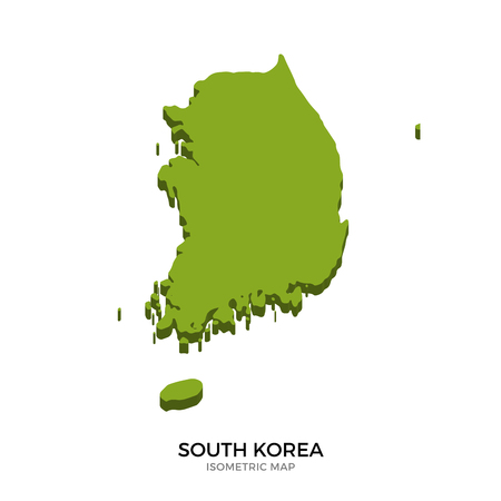 polity: Isometric map of South Korea detailed vector illustration. Isolated 3D isometric country concept for infographic