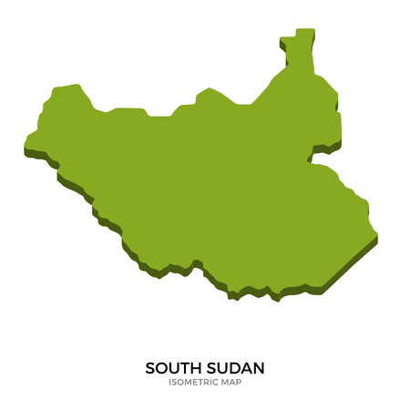polity: Isometric map of South Sudan detailed vector illustration. Isolated 3D isometric country concept for infographic