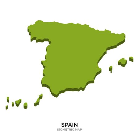 Isometric map of Spain detailed vector illustration. Isolated 3D isometric country concept for infographic