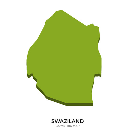 polity: Isometric map of Swaziland detailed vector illustration. Isolated 3D isometric country concept for infographic