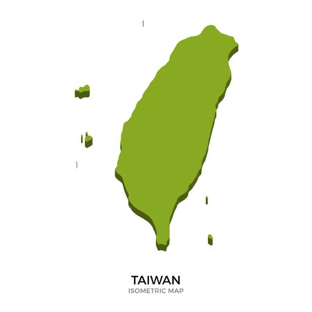 polity: Isometric map of Taiwan detailed vector illustration. Isolated 3D isometric country concept for infographic