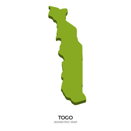 polity: Isometric map of Togo detailed vector illustration. Isolated 3D isometric country concept for infographic