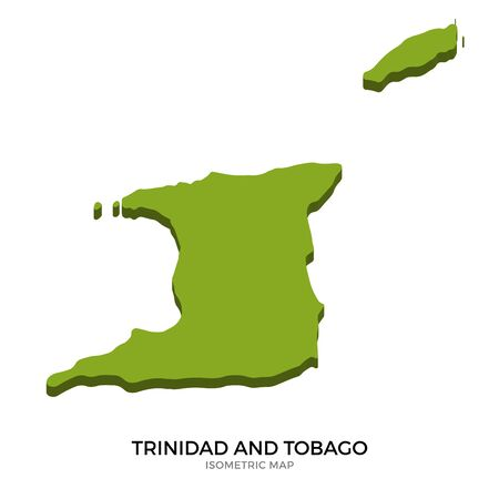 trinidad and tobago: Isometric map of Trinidad and Tobago detailed vector illustration. Isolated 3D isometric country concept for infographic Illustration