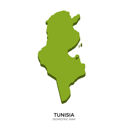 polity: Isometric map of Tunisia detailed vector illustration. Isolated 3D isometric country concept for infographic