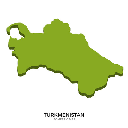 polity: Isometric map of Turkmenistan detailed vector illustration. Isolated 3D isometric country concept for infographic