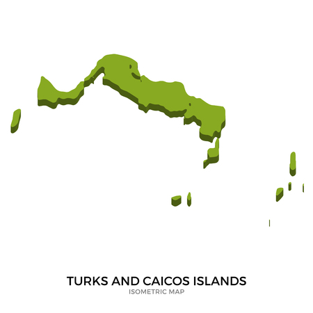 realm: Isometric map of Turks and Caicos Islands detailed vector illustration. Isolated 3D isometric country concept for infographic Illustration