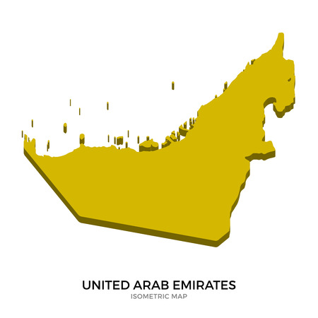 abu dhabi: Isometric map of United Arab Emirates detailed vector illustration. Isolated 3D isometric country concept for infographic Illustration