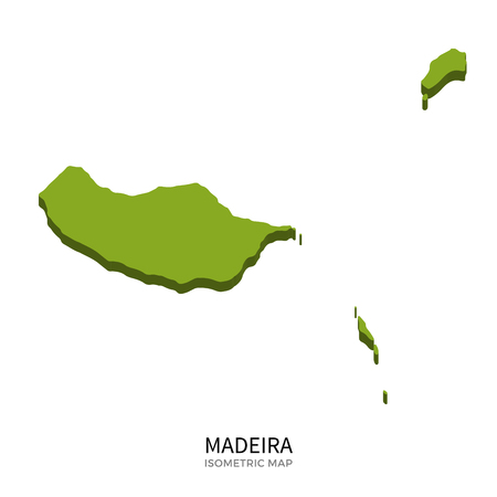 madeira: Isometric map of Madeira detailed vector illustration. Isolated 3D isometric country concept for infographic Illustration