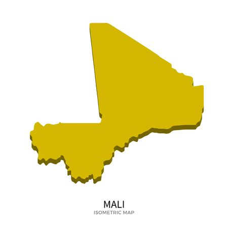 bamako: Isometric map of Mali detailed vector illustration. Isolated 3D isometric country concept for infographic Illustration
