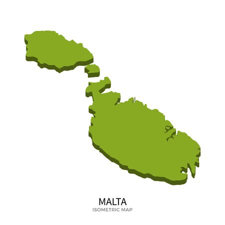 malta map: Isometric map of Malta detailed vector illustration. Isolated 3D isometric country concept for infographic