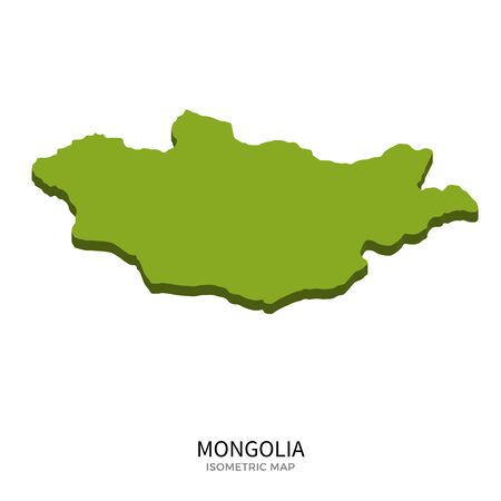 far east: Isometric map of Mongolia detailed vector illustration. Isolated 3D isometric country concept for infographic Illustration
