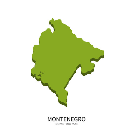 polity: Isometric map of Montenegro detailed vector illustration. Isolated 3D isometric country concept for infographic