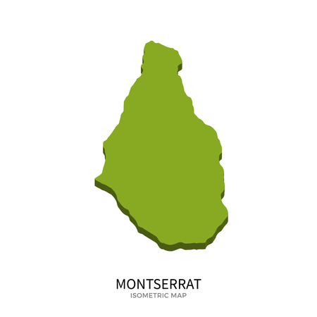 montserrat: Isometric map of Montserrat detailed vector illustration. Isolated 3D isometric country concept for infographic Illustration