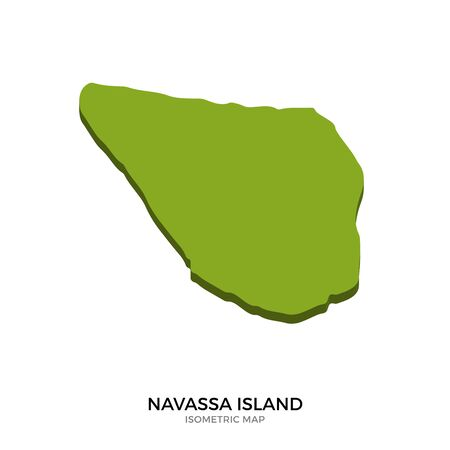 polity: Isometric map of Navassa Island detailed vector illustration. Isolated 3D isometric country concept for infographic Illustration