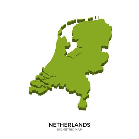 Isometrische kaart van Nederland gedetailleerde vector illustratie. Geïsoleerde 3D isometrische land concept voor infographic Vector Illustratie