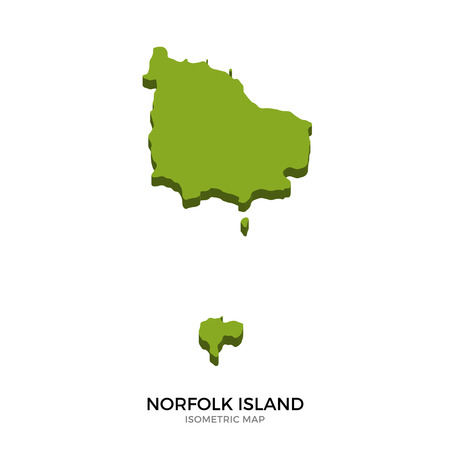 kingston: Isometric map of Norfolk Island detailed vector illustration. Isolated 3D isometric country concept for infographic