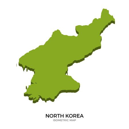 polity: Isometric map of North Korea detailed vector illustration. Isolated 3D isometric country concept for infographic Illustration