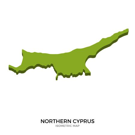 Isometric map of Northern Cyprus detailed vector illustration. Isolated 3D isometric country concept for infographic