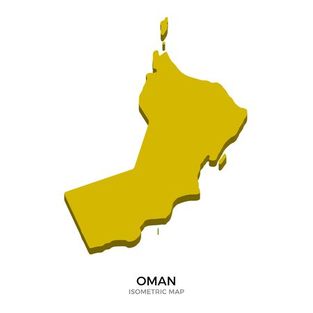 polity: Isometric map of Oman detailed vector illustration. Isolated 3D isometric country concept for infographic