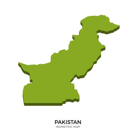islamabad: Isometric map of Pakistan detailed vector illustration. Isolated 3D isometric country concept for infographic Illustration