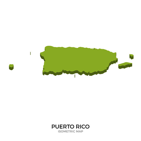 polity: Isometric map of Puerto Rico detailed vector illustration. Isolated 3D isometric country concept for infographic Illustration