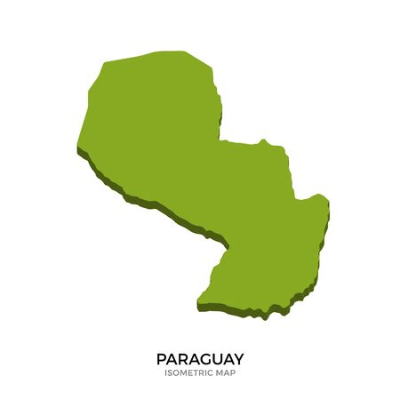 polity: Isometric map of Paraguay detailed vector illustration. Isolated 3D isometric country concept for infographic Illustration