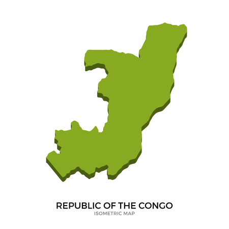 polity: Isometric map of Republic of the Congo detailed vector illustration. Isolated 3D isometric country concept for infographic