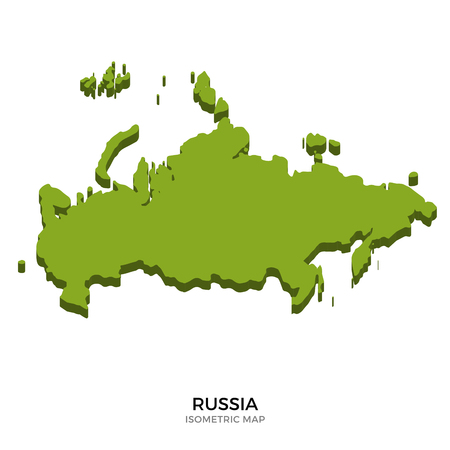 polity: Isometric map of Russia detailed vector illustration. Isolated 3D isometric country concept for infographic