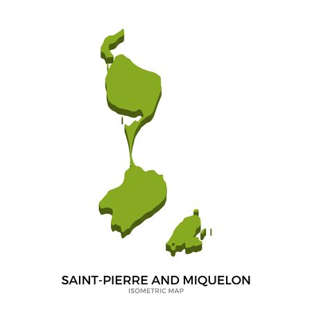 polity: Isometric map of Saint-Pierre and Miquelon detailed vector illustration. Isolated 3D isometric country concept for infographic