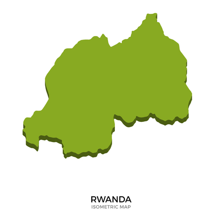 kigali: Isometric map of Rwanda detailed vector illustration. Isolated 3D isometric country concept for infographic