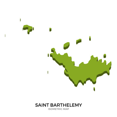 polity: Isometric map of Saint Barthelemy detailed vector illustration. Isolated 3D isometric country concept for infographic Illustration