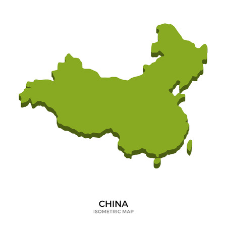 far east: Isometric map of China detailed vector illustration. Isolated 3D isometric country concept for infographic