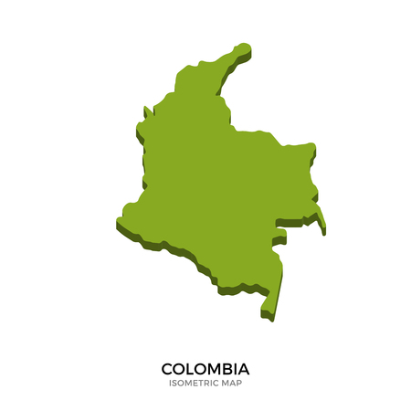 polity: Isometric map of Colombia detailed vector illustration. Isolated 3D isometric country concept for infographic