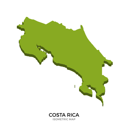 Isometric map of Costa Rica detailed vector illustration. Isolated 3D isometric country concept for infographic
