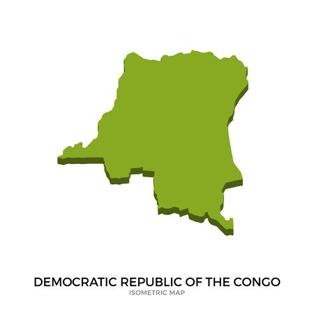 polity: Isometric map of Democratic Republic of the Congo detailed vector illustration. Isolated 3D isometric country concept for infographic