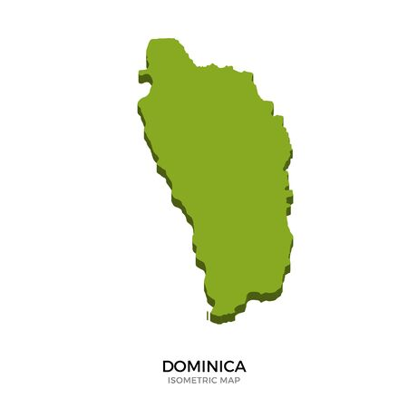 polity: Isometric map of Dominica detailed vector illustration. Isolated 3D isometric country concept for infographic Illustration