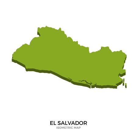 mapa de el salvador: Isometric map of El Salvador detailed vector illustration. Isolated 3D isometric country concept for infographic Vectores