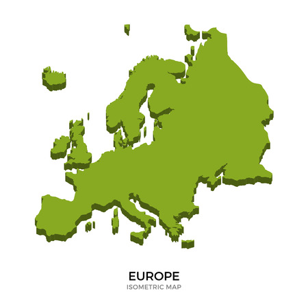 Isometric map of Europe detailed vector illustration. Isolated 3D isometric country concept for infographic
