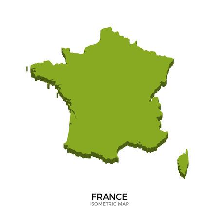 Isometrische kaart van Frankrijk gedetailleerde vector illustratie. Geïsoleerde 3D isometrische land concept voor infographic