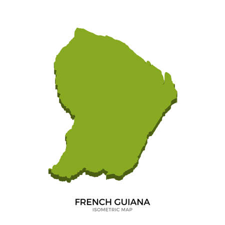 polity: Isometric map of French Guiana detailed vector illustration. Isolated 3D isometric country concept for infographic