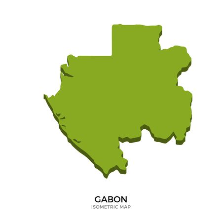 polity: Isometric map of Gabon detailed vector illustration. Isolated 3D isometric country concept for infographic