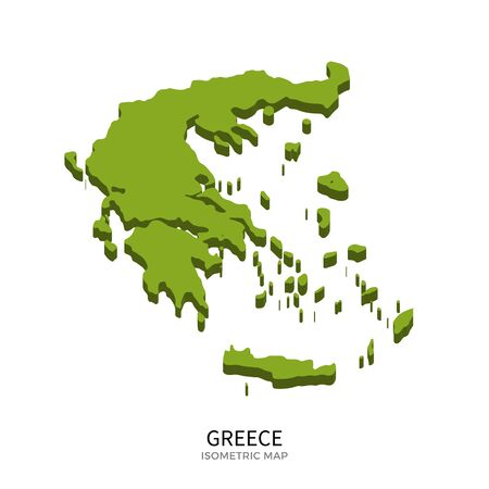 navigation map: Isometric map of Greece detailed vector illustration. Isolated 3D isometric country concept for infographic
