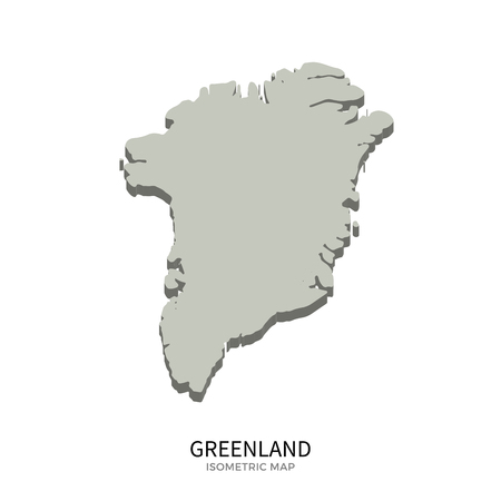 Isometric Map Of Greenland Detailed Vector Illustration Isolated