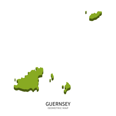 guernsey: Isometric map of Guernsey detailed vector illustration. Isolated 3D isometric country concept for infographic