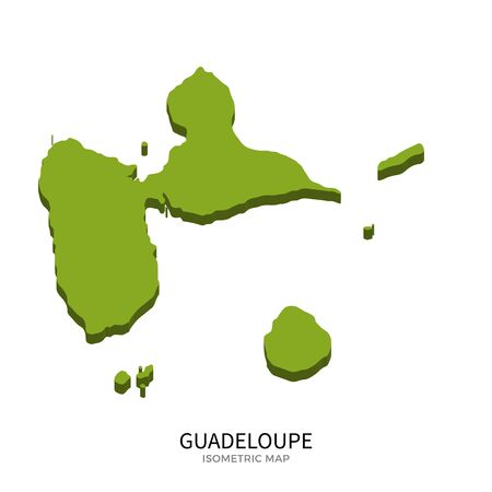guadeloupe: Isometric map of Guadeloupe detailed vector illustration. Isolated 3D isometric country concept for infographic Illustration