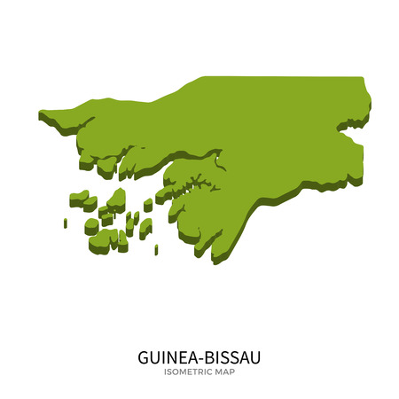 polity: Isometric map of Guinea-Bissau detailed vector illustration. Isolated 3D isometric country concept for infographic