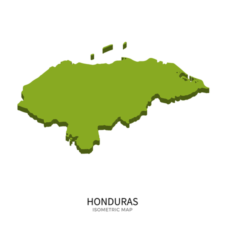 polity: Isometric map of Honduras detailed vector illustration. Isolated 3D isometric country concept for infographic