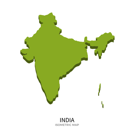 polity: Isometric map of India detailed vector illustration. Isolated 3D isometric country concept for infographic