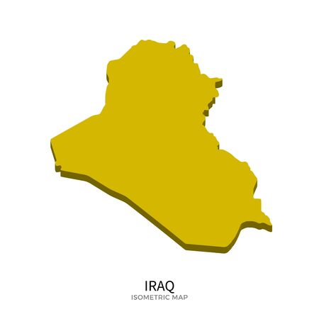 western asia: Isometric map of Iraq detailed vector illustration. Isolated 3D isometric country concept for infographic