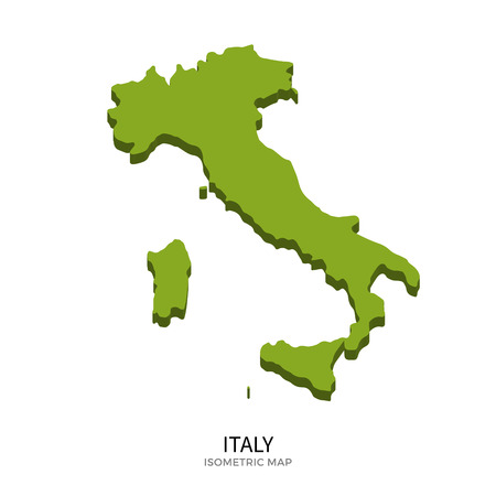 Isometric map of Italy detailed vector illustration. Isolated 3D isometric country concept for infographic Vettoriali